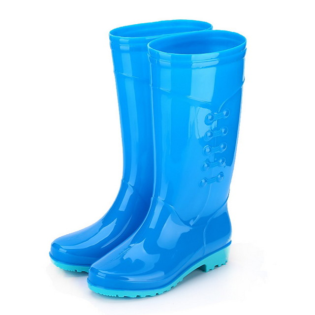 Women's Boots Low Heel Round Toe PVC Mid-Calf Boots Spring &  Fall Green / Blue