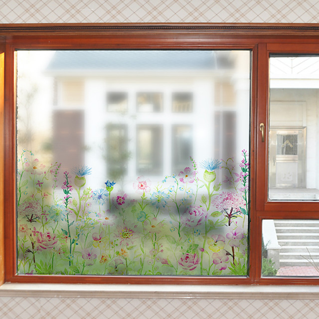 Plants And Flowers Pattern Matte Window Film Cling Vinyl Thermal-Insulation Privacy Protection Home Decor For Window Cabinet Door Sticker / Window Sticker