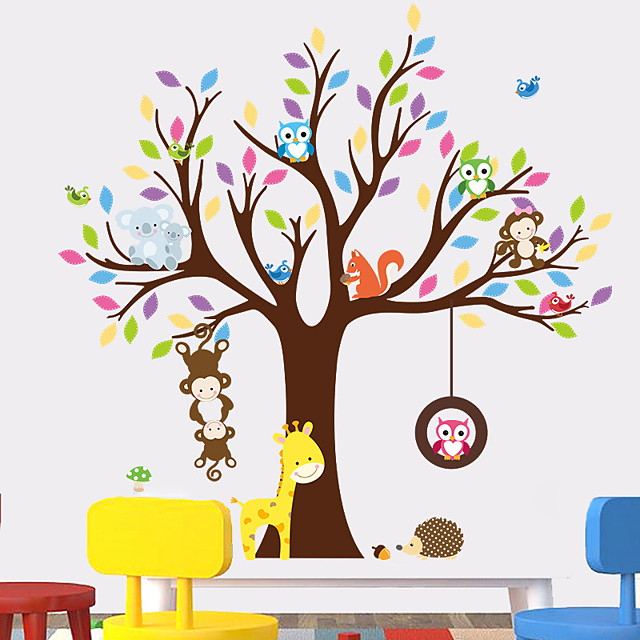 Giraffe Owl Monkey Tree Forest Animals Wall Stickers For Kids Room Children Bedroom Wall Decals Nursery Decor Poster Mural