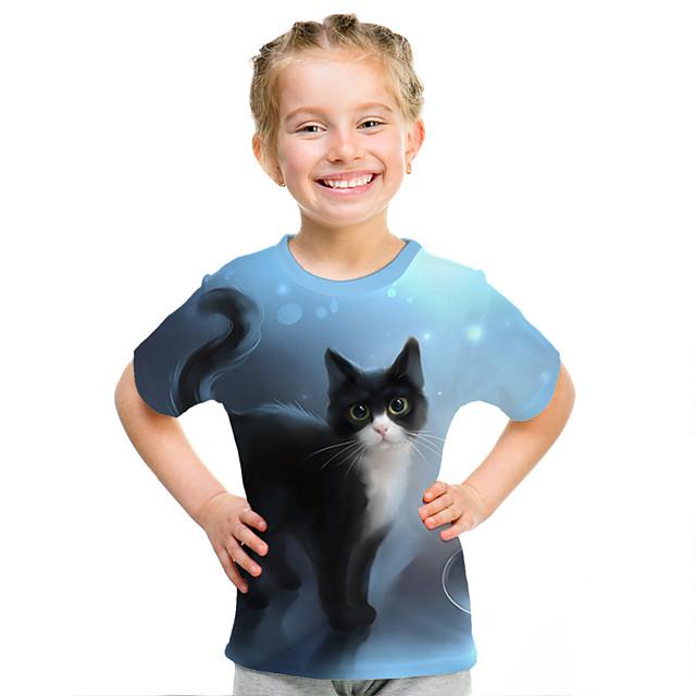 Kids Girls' T shirt Tee Short Sleeve Cat 3D Animal Print Blue Children Tops Active Streetwear Cute