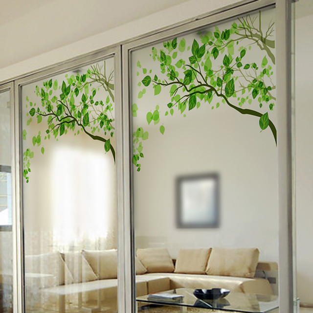 Fresh Green Twigs Window Film & Stickers Decoration Matte / Contemporary Print / 3D Print PVC(PolyVinyl Chloride) Matte Sticker / Window Sticker / Door Sticker