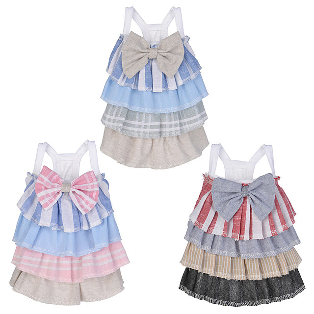 Dog Cat Dress Dog Clothes Red Blue Pink Costume Husky Labrador Alaskan Malamute Polyester Cotton Bowknot Lace Leisure Sweet XS S M L XL