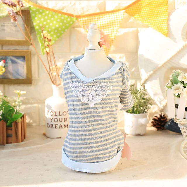 Dog Costume Shirt / T-Shirt Dog Clothes Breathable Gray Costume Beagle Bichon Frise Chihuahua Cotton Color Block Stripes Lace Casual / Sporty Cute XS S M L XL