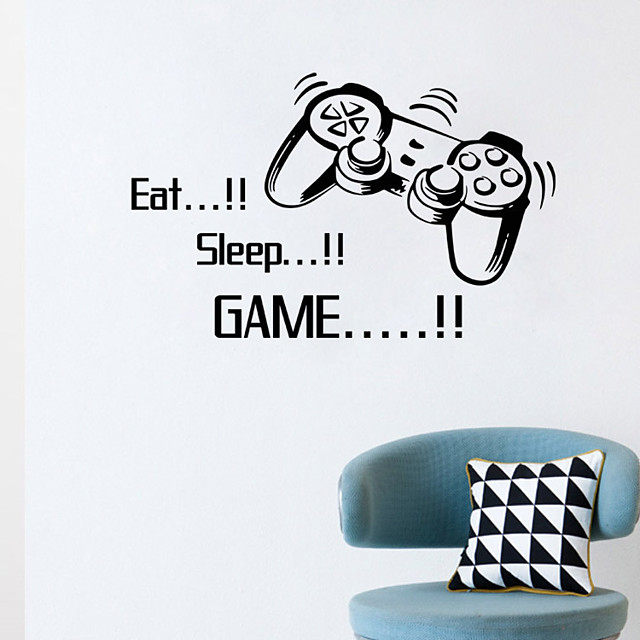 Eat Sleep Game Wall Stickers Boys Bedroom Letter Diy Kids Rooms Decoration Art Wall Stickers Letters Words Game Room