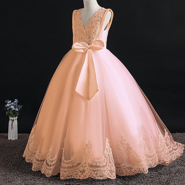 Princess Dress Flower Girl Dress Girls' Movie Cosplay A-Line Slip Cosplay Orange / White Dress Halloween Carnival Masquerade Tulle Polyester