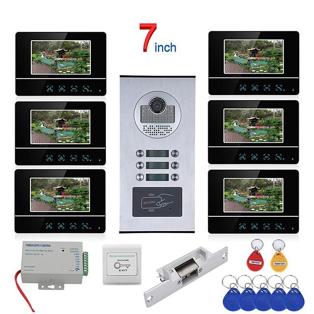7 inch Touch Button 6 Apartment/Family Video Door Phone Intercom System RFID 1000TVL  Doorbell Camera NO Electric Strike Door Lock