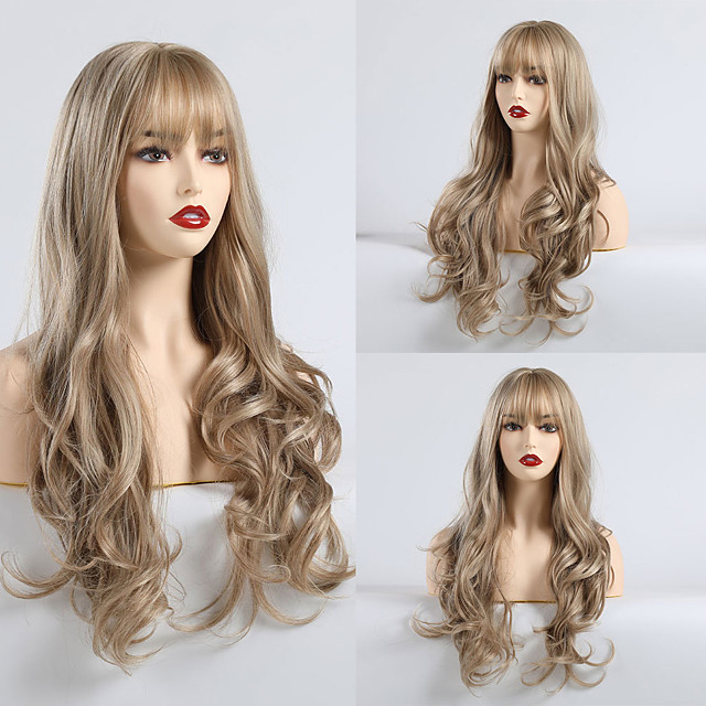 Synthetic Wig Matte Body Wave Lily Neat Bang Wig Long Light Brown Synthetic Hair 24 inch Women's Fashionable Design Comfortable Light Brown