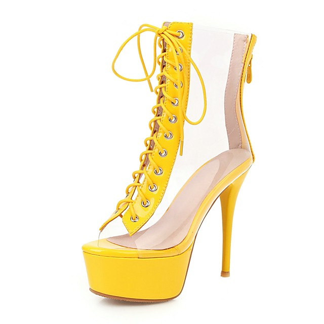Women's Boots Transparent Shoes Stiletto Heel Peep Toe PU Booties / Ankle Boots Classic Spring & Summer Yellow / Green / Silver / Wedding / Party & Evening / Color Block