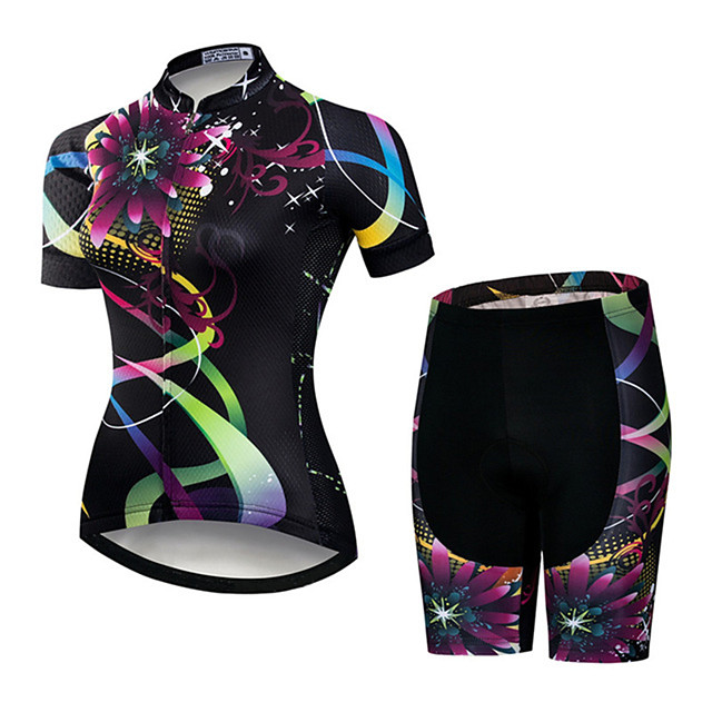 21Grams Women's Short Sleeve Cycling Jersey with Shorts Black / Red Floral Botanical Bike Clothing Suit Breathable Quick Dry Ultraviolet Resistant Sweat-wicking Sports Floral Botanical Mountain Bike