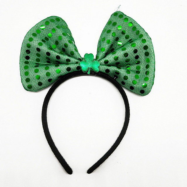 Peter Pan Irish Clover Headband Adults' Green Velour Party Cosplay