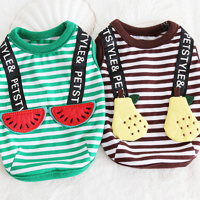 Dog Costume Vest Dog Clothes Breathable Green Coffee Costume Beagle Bichon Frise Chihuahua Cotton Stripes Quotes & Sayings Fruit Casual / Sporty Cute XS S M L XL