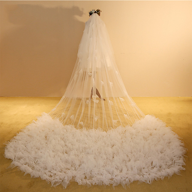 One-tier Casual / Daily / Sweet Wedding Veil Cathedral Veils with Solid / Splicing 118.11 in (300cm) POLY