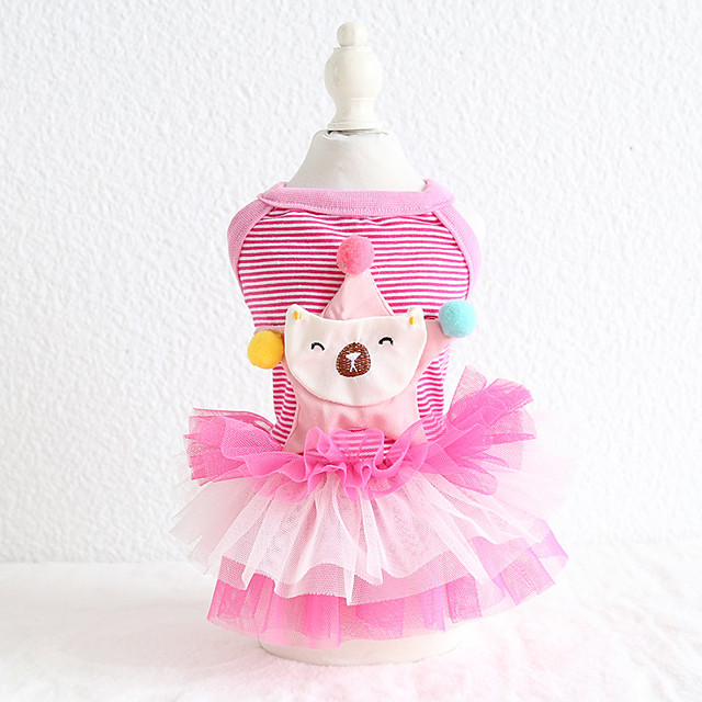Dog Costume Dress Dog Clothes Breathable Yellow Pink Costume Beagle Bichon Frise Chihuahua Cotton Voiles & Sheers Stripes Character Casual / Sporty Cute XS S M L XL