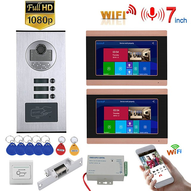 7inch Record Wired Wifi Video Intercom 2 Apartments Doorphone System with  RFID 1080P Doorbell Camera NO Electric Strike Door Lock