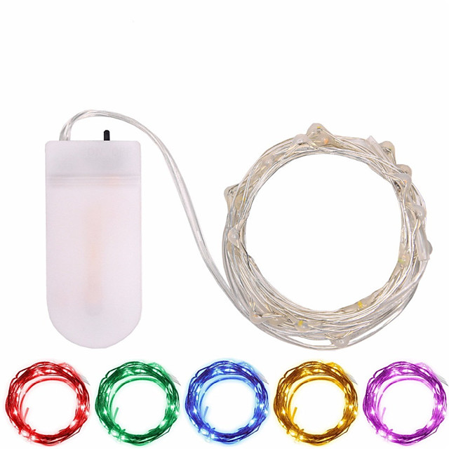 1pcs Button Battery Operated LED String Lights Silver Copper Wire 2m 20LED Fairy LED Holiday Decoration for Christmas Wedding
