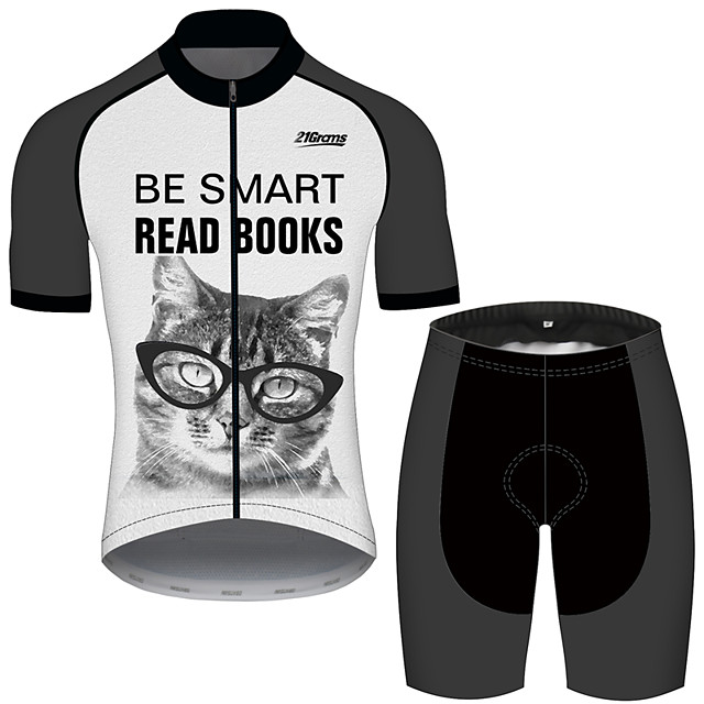 21Grams Men's Short Sleeve Cycling Jersey with Shorts Polyester Spandex Black / White Cat Animal Oktoberfest Beer Bike Clothing Suit UV Resistant Breathable Quick Dry Sweat-wicking Sports Cat