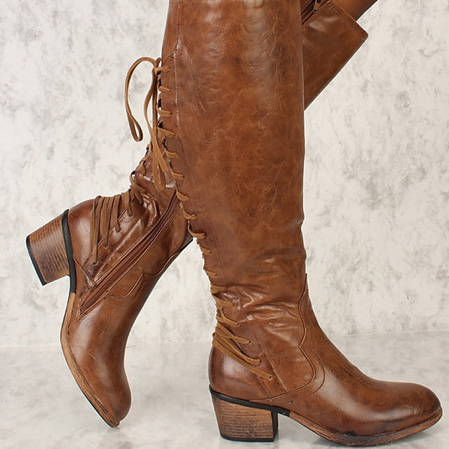 Women's Boots Chunky Heel Round Toe PU Booties / Ankle Boots Winter Black / Brown
