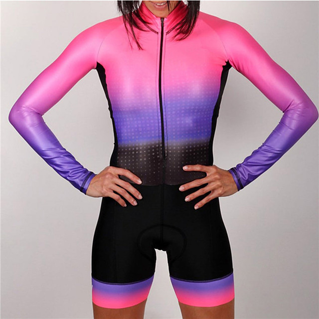 21Grams Women's Long Sleeve Triathlon Tri Suit Polyester Spandex Pink / Black Gradient Bike Clothing Suit Thermal / Warm UV Resistant Breathable Quick Dry Sweat-wicking Sports Gradient Mountain Bike