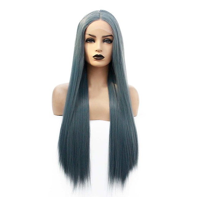 Synthetic Lace Front Wig Straight Gaga Middle Part Lace Front Wig Long Blue Synthetic Hair 22-26 inch Women's Heat Resistant Women Hot Sale Blue / Glueless