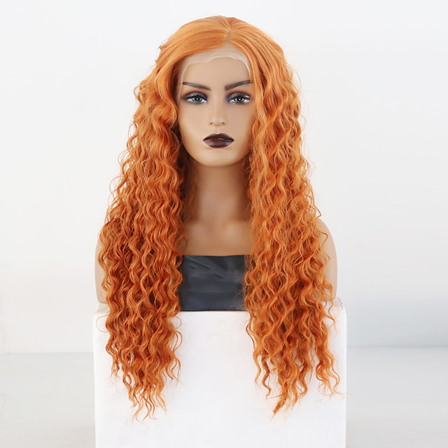Synthetic Lace Front Wig Wavy Side Part Lace Front Wig Blonde Long Orange Synthetic Hair 18-26 inch Women's Cosplay Soft Adjustable Blonde