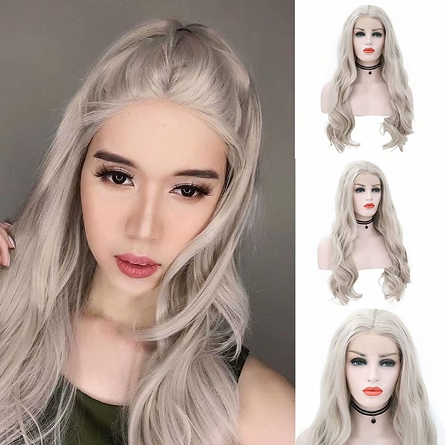 Synthetic Lace Front Wig Body Wave Middle Part Lace Front Wig Long Grey Synthetic Hair 18-26 inch Women's Heat Resistant Synthetic Easy dressing Gray / Natural Hairline / Natural Hairline