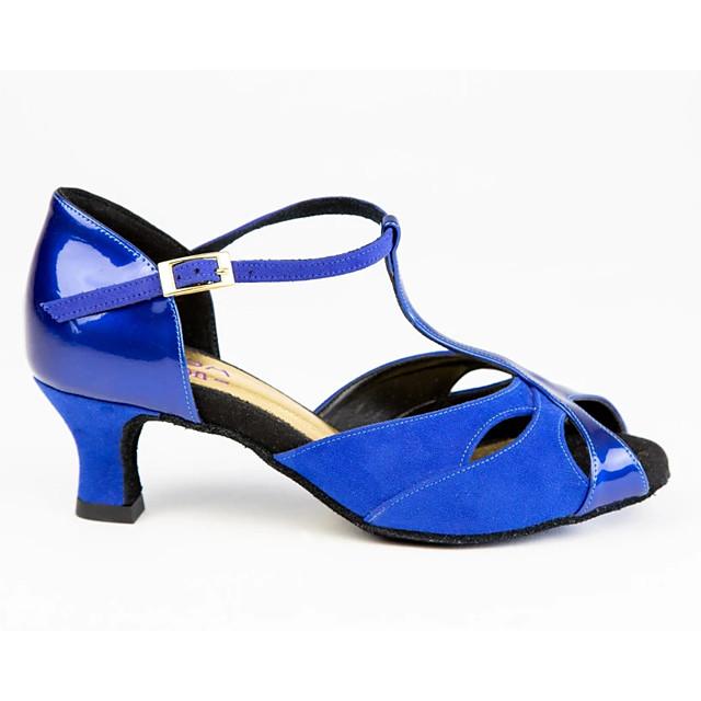 Women's Latin Shoes PU Heel Cuban Heel Dance Shoes Blue / Performance