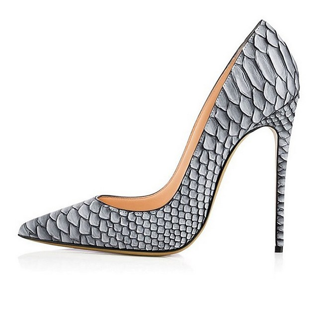 Women's Wedding Shoes Print Shoes Stiletto Heel Pointed Toe PU Spring & Summer White / Gray