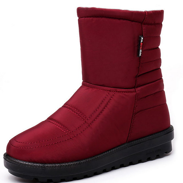 Women's Boots Flat Heel Round Toe Cotton Mid-Calf Boots Fall & Winter Black / Red / Blue
