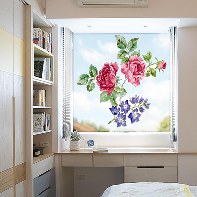 Window Film Flowers Frosted Opaque Privacy Stained Glass Sticker for Home Decor Window Stickers Chinese Rose