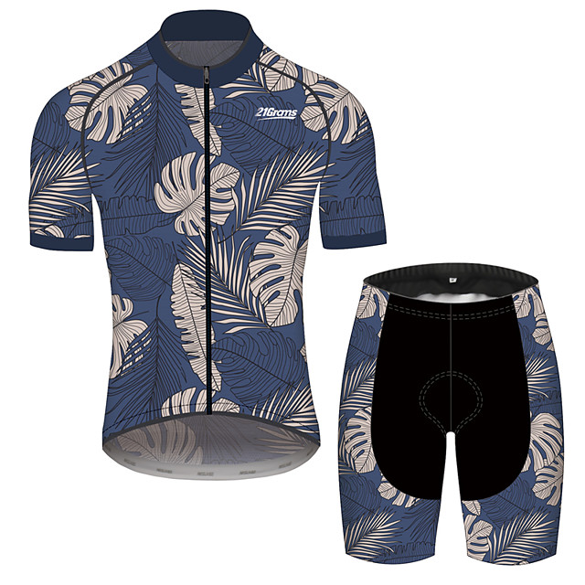 21Grams Men's Short Sleeve Cycling Jersey with Shorts Dark Navy Floral Botanical Bike Clothing Suit Breathable 3D Pad Quick Dry Reflective Strips Sports Floral Botanical Mountain Bike MTB Road Bike