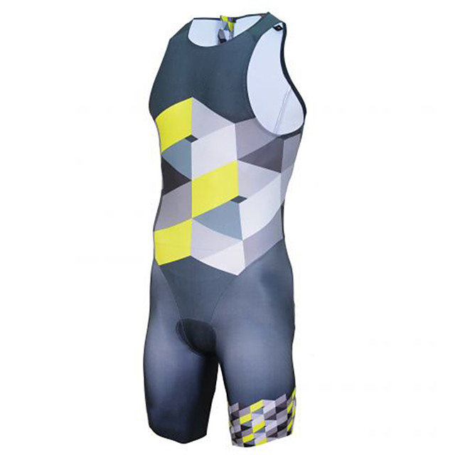 21Grams Men's Sleeveless Triathlon Tri Suit Polyester Spandex Blue+Yellow Plaid / Checkered Bike Clothing Suit UV Resistant Breathable Quick Dry Sweat-wicking Sports Plaid / Checkered Mountain Bike