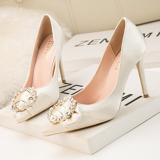 Women's Wedding Shoes Glitter Crystal Sequined Jeweled Stiletto Heel Pointed Toe Satin Spring & Summer Wine / Gold / Black