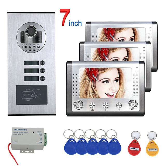 7 inch 3 Apartment/Family Video Door Phone Intercom System RFID IR-CUT HD 1000TVL Camera Doorbell Camera  Waterproof