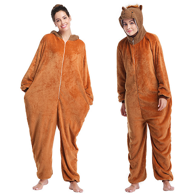 Adults' Kigurumi Pajamas Monkey Onesie Pajamas Flannelette Brown Cosplay For Men and Women Animal Sleepwear Cartoon Festival / Holiday Costumes