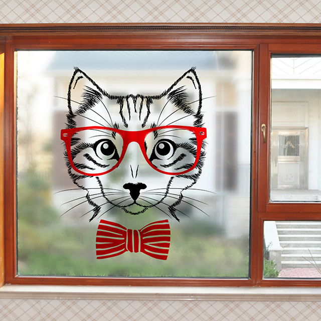 Cute Kitty Pattern Matte Window Film Cling Vinyl Thermal-Insulation Privacy Protection Home Decor For Window Cabinet Door Sticker / Window Sticker