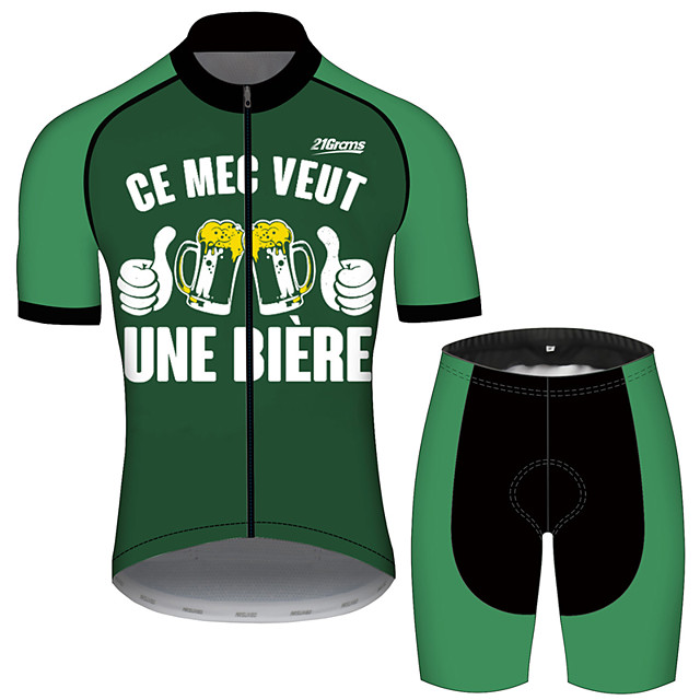 21Grams Men's Short Sleeve Cycling Jersey with Shorts Black / Green Oktoberfest Beer Bike UV Resistant Quick Dry Sports Solid Color Mountain Bike MTB Road Bike Cycling Clothing Apparel / Stretchy