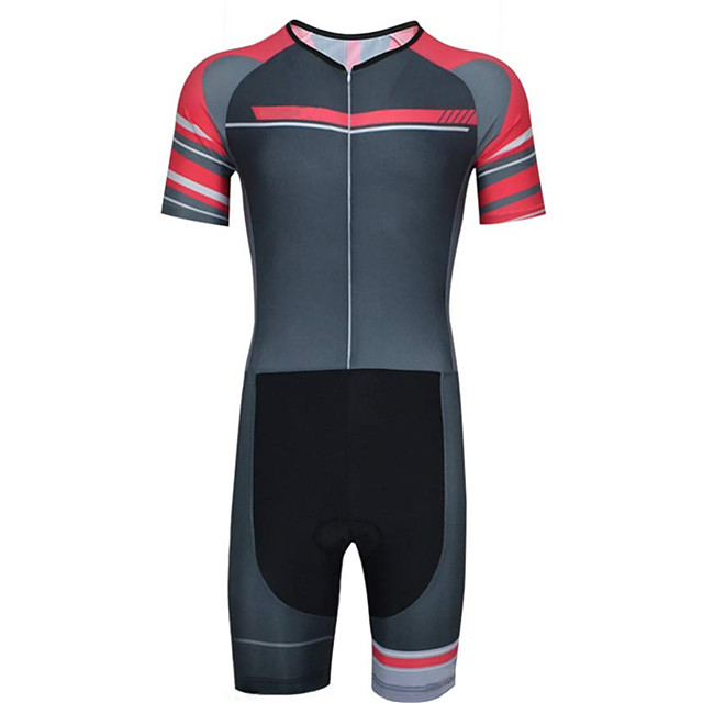21Grams Men's Short Sleeve Triathlon Tri Suit Polyester Spandex Black / Red Patchwork Bike Clothing Suit UV Resistant Breathable Quick Dry Sweat-wicking Sports Patchwork Mountain Bike MTB Road Bike