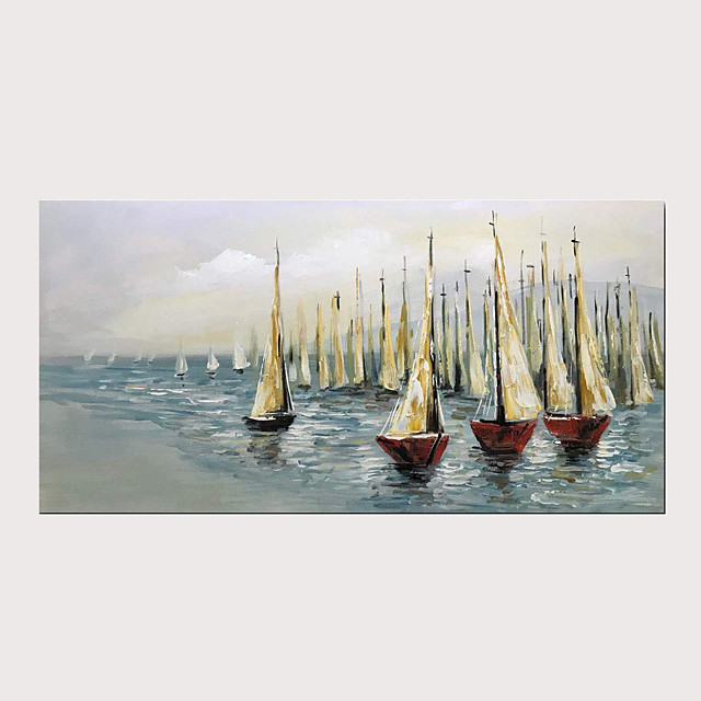 Oil Hand Painting Sailing Boat on Blue Sea Warm Color Artwork for Home Decoration with Stretched Frame Ready to Hang