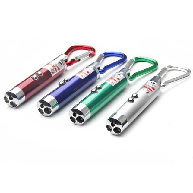 3pcs Three-in-One Mini Carabiner Flashlight Glare Infrared Laser Money Detector Light Flash LED Small Flashlight