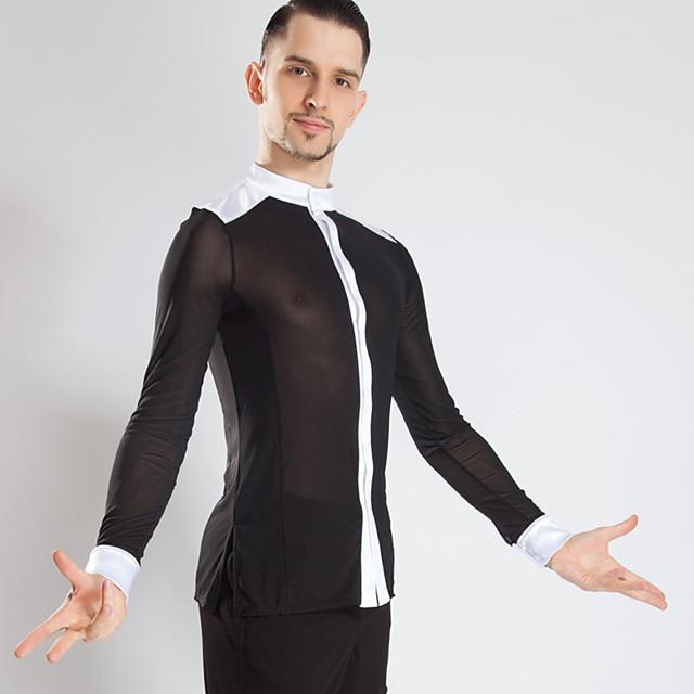 Latin Dance Top Ruching Men's Performance Long Sleeve Mesh