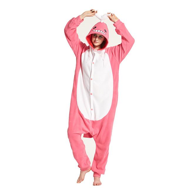 Adults' Kigurumi Pajamas Shark Onesie Pajamas Flannelette Pink Cosplay For Men and Women Animal Sleepwear Cartoon Festival / Holiday Costumes