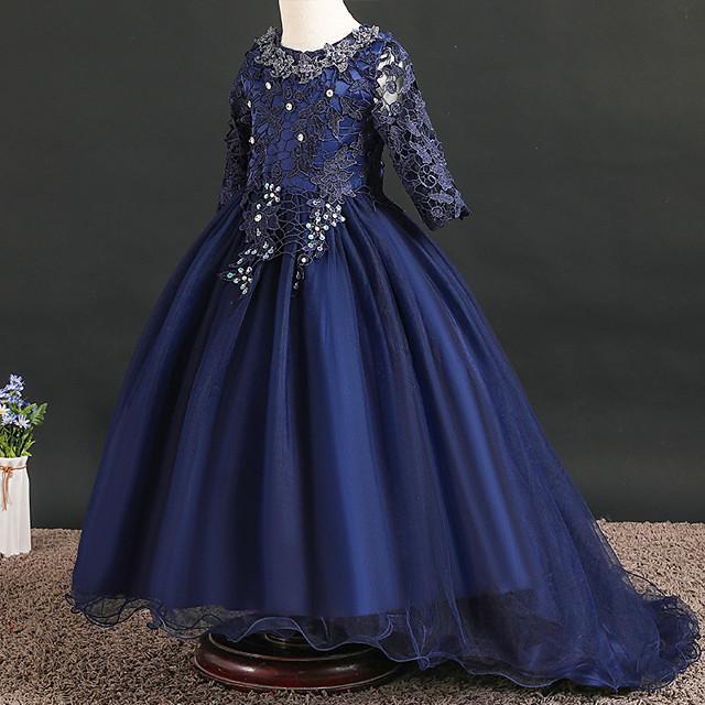 Princess Dress Flower Girl Dress Girls' Movie Cosplay A-Line Slip Cosplay Pink / Ink Blue / Light Blue Dress Halloween Carnival Masquerade Tulle Polyester