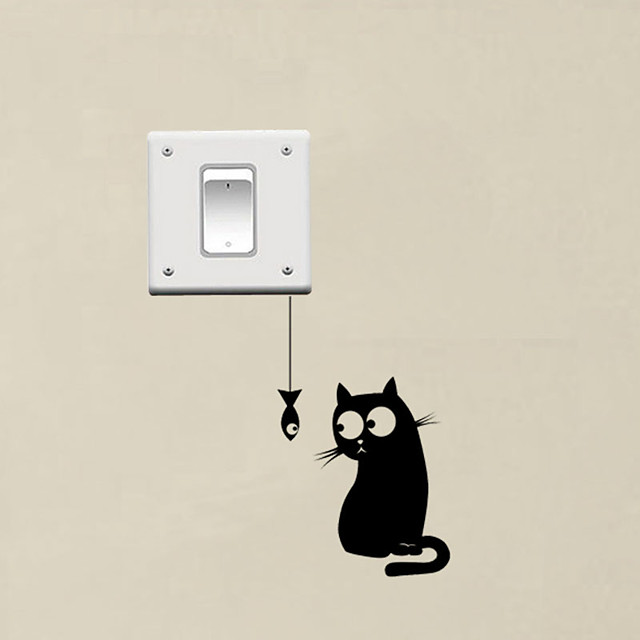 Hungry Cat See The Fish Funny Switch Stickers Decor Vinyl Wall Decal