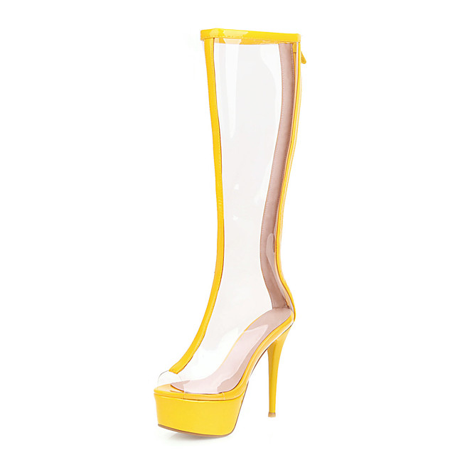 Women's Boots Transparent Shoes Stiletto Heel Peep Toe PU Knee High Boots Classic Spring & Summer Yellow / Green / Silver / Wedding / Party & Evening / Color Block