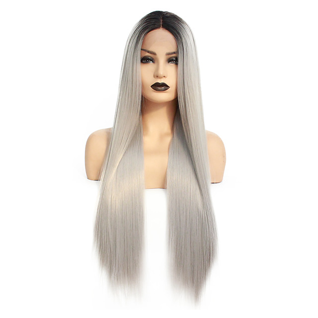 Synthetic Lace Front Wig Straight Gaga Middle Part Lace Front Wig Ombre Long Ombre Grey Synthetic Hair 22-26 inch Women's Heat Resistant Women Hot Sale Gray Ombre / Glueless