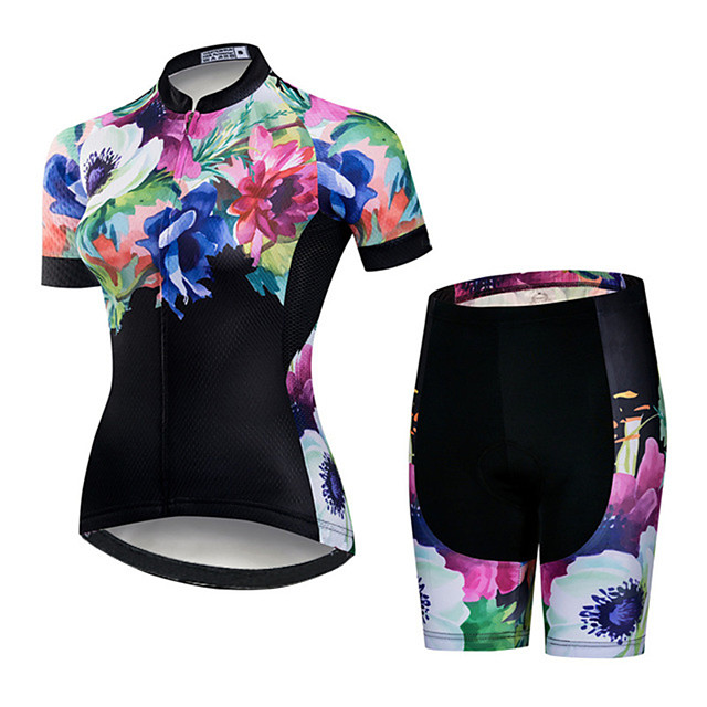 21Grams Women's Short Sleeve Cycling Jersey with Shorts Pink / Black Floral Botanical Bike Clothing Suit Breathable Quick Dry Ultraviolet Resistant Sweat-wicking Sports Floral Botanical Mountain Bike