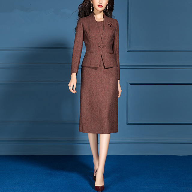 The Great Gatsby Retro Vintage 1950s Elegant Dress Coat Outfits Women's Costume Burgundy Vintage Cosplay Work Office & Career Long Sleeve