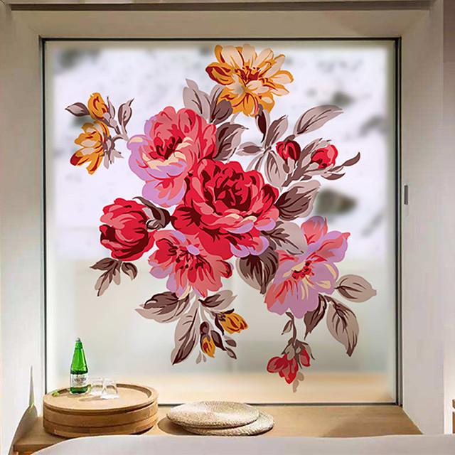 Flowers Pattern Matte Window Film Vinyl Removable Private Home Decor / Door Sticker / Window Sticker