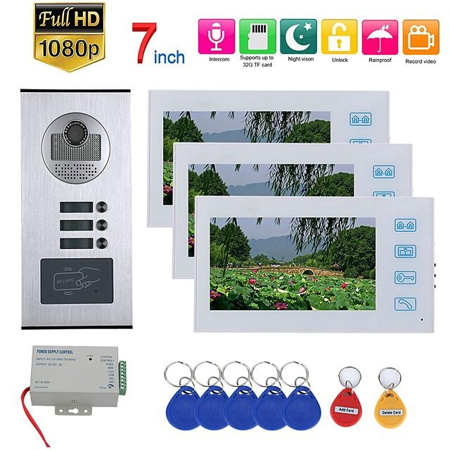 7inch Record Video Intercom 3 Apartments Video Door Phone Intercom System with  RFID HD1080P Doorbell Waterproof Camera