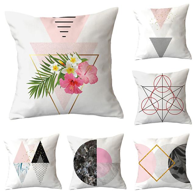 6pcs Throw Pillow Simple Classic 45*45 cm Cushion Vintage Circle Cover Sofa Home Decor Throw Pillow Case